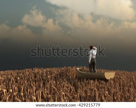 businessman drifting through the sea of human hands, 3d illustration - stock photo