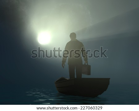 businessman drifting to the light - stock photo