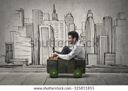 Businessman driving to work - stock photo