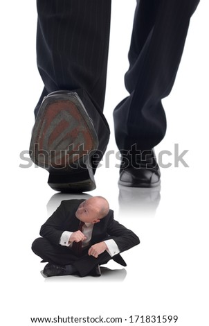 businessman ducking for cover keeping under the radar as the boss approaches  - stock photo