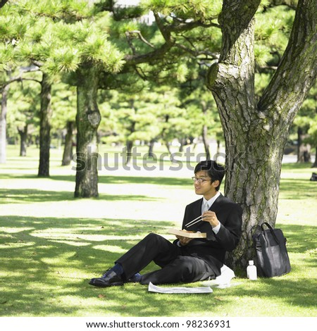 Businessman eating lunch in park - stock photo