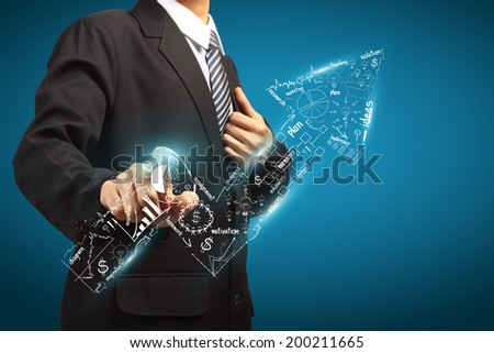 Businessman economy concept - stock photo