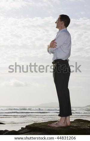 Businessman enjoying the sun on a rock on a beach - stock photo