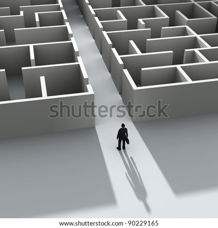 businessman entering the labyrinth - stock photo
