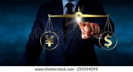 Businessman equating a yuan sign at par with a dollar symbol by touching a virtual balance. Business metaphor for modern foreign exchange market, currency trading and global financial transactions. - stock photo