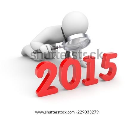 Businessman examine 2015 word - stock photo