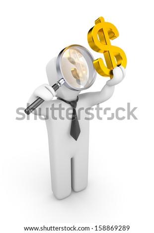 Businessman examines something - stock photo