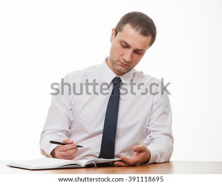 Businessman examining documents, closeup shot