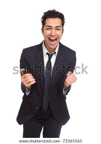 Businessman excited and Ecstatic isolated on white - stock photo