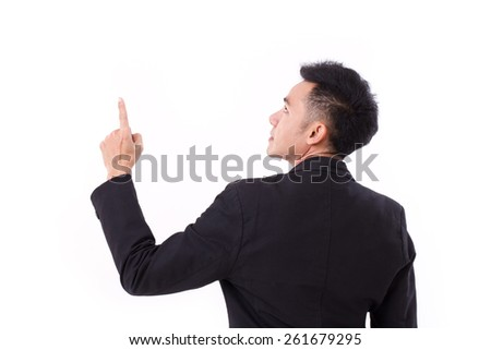 businessman executive pointing up - stock photo