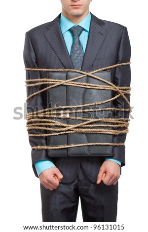businessman executive tied up with rope, business man with briefcase, wear in elegant suit, isolated over white background