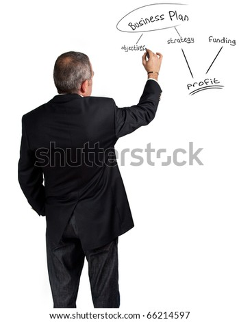 Businessman explaining business plan