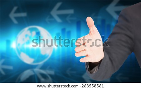 Businessman extending arm for handshake against global business graphic in blue - stock photo
