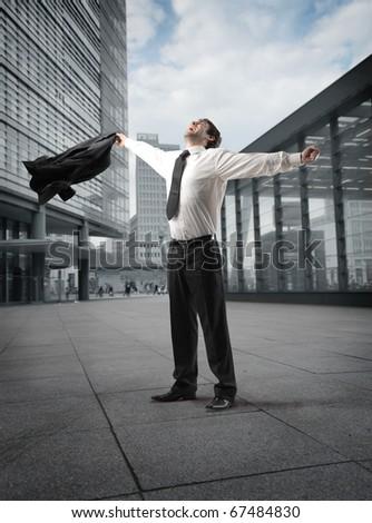 Businessman exulting - stock photo