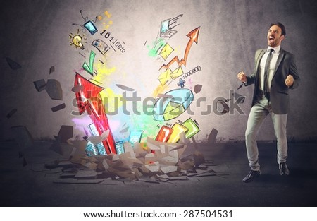 Businessman exults for the growth of profit - stock photo