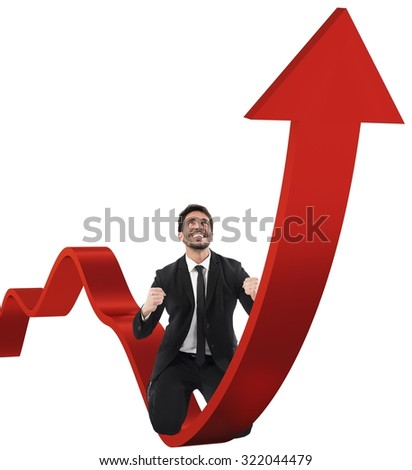 Businessman exults over a red uphill arrow - stock photo