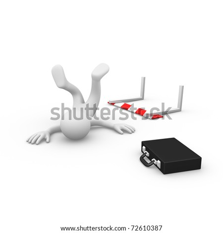 Businessman failing to jump over a hurdle obstacle