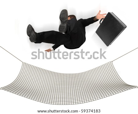 Businessman falling into a safety net on a white background - stock photo