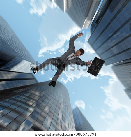 businessman falling into the abyss - stock photo