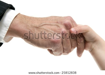 Businessman father giving hand to a child isolated on white