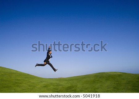 businessman feeling the joy of a beautiful landscape - stock photo