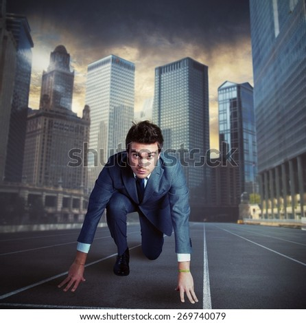 Businessman fierce ready for a new challenge - stock photo