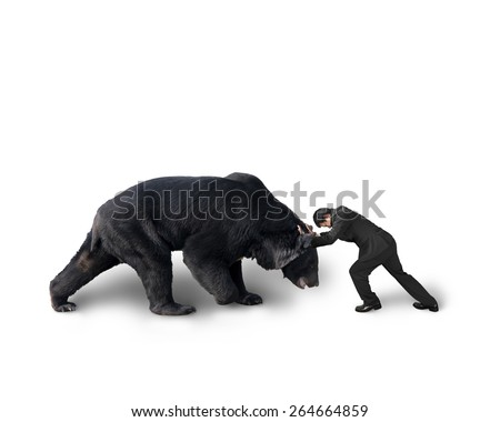 Businessman fighting against black bear isolated on white background - stock photo