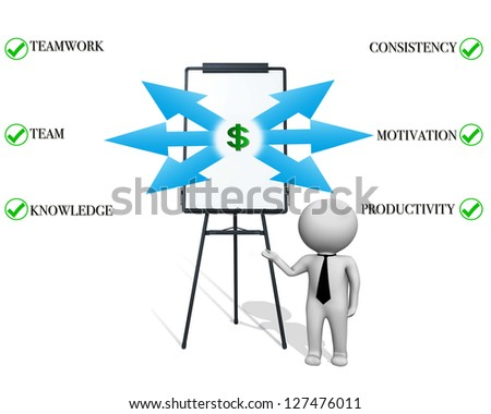 Businessman figure pointing at chart - stock photo