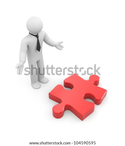 Businessman find puzzle(idea). Image contain clipping path