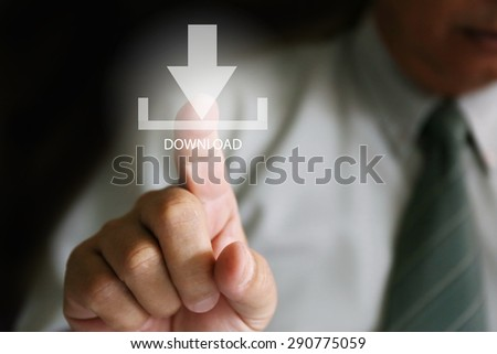 businessman finger click download, Businessman pushing button web download icon - stock photo