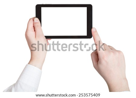 businessman finger clicking tablet pc with cut out screen isolated on white background - stock photo