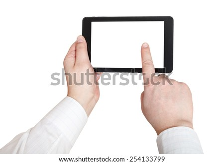 businessman finger press tablet pc with cut out screen isolated on white background - stock photo