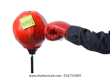 businessman fist hit red punching bag , work hard  concept - stock photo