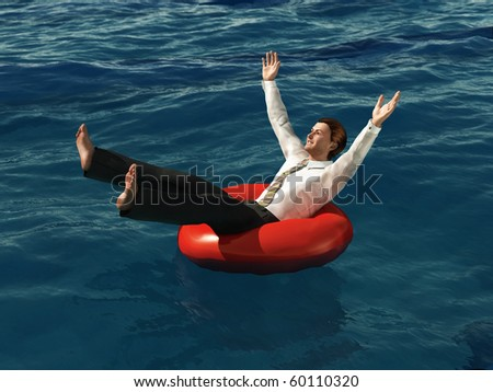 businessman floating on the lifebuoy - stock photo