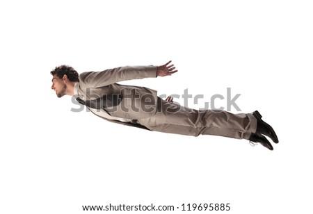 Businessman flying - stock photo