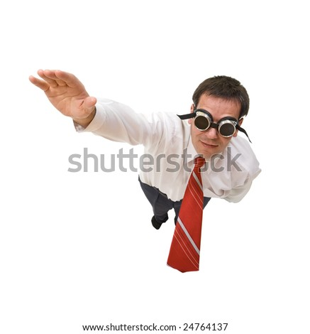 Businessman flying blind - isolated, perspective - stock photo