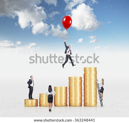 Businessman flying on a red baloon over a bar chart made of coins, another man standing on the lowest bar, woman climbing a ladder, another woman looking at them. Sky background. Concept of success. - stock photo