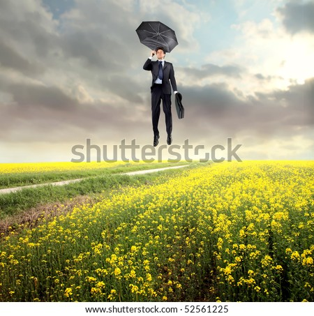 Businessman flying over a green meadow - stock photo