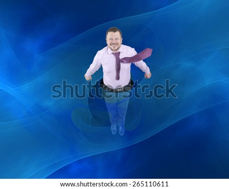 Businessman flying up with abstract background