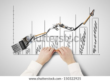 businessman folded diagram of everyday items - stock photo