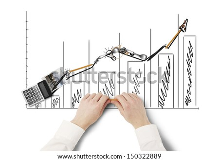businessman folded graphic of everyday items - stock photo
