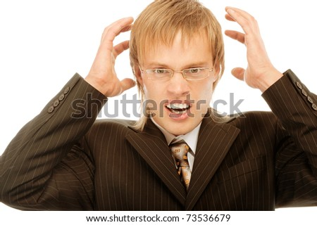 Businessman frustrated with his work and his ideas, isolated on wite background - stock photo