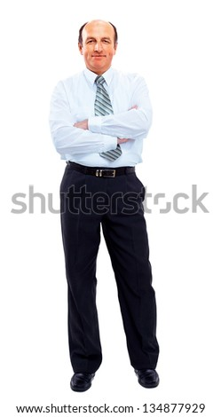 businessman full length isolated on white - stock photo