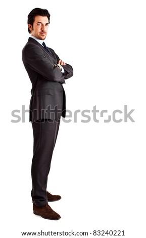 Businessman full length isolated on white - stock photo
