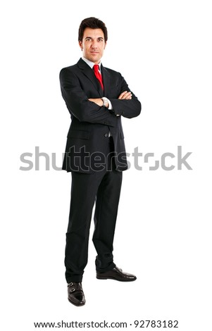Businessman full length isolated on white with folded arms - stock photo