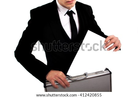 Businessman gesticulating, isolated on white background