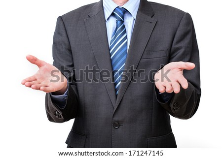 Businessman gesture on a white isolated background