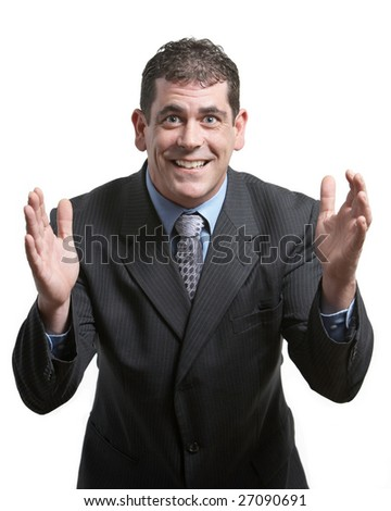 Businessman gesturing an idea with hands on white - stock photo