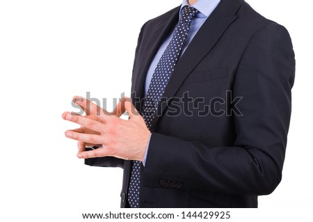 Businessman gesturing with both hands. - stock photo