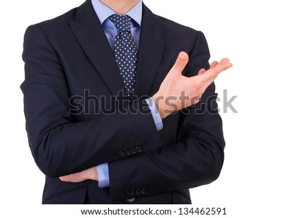 Businessman gesturing with hand. - stock photo